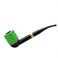 FALCON green pipe: international curved stem with green dublin bowl
