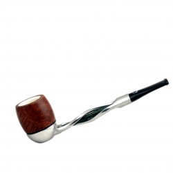 FALCON pipe: twisted green stem with billiard meerschaum bowl