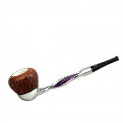 FALCON pipe: twisted purple stem with apple meerschaum bowl