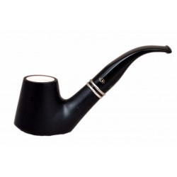 VEGA Briar smooth matt black bent brandy meerschaum lined tobacco smoking pipe from Gasparini (Italy)