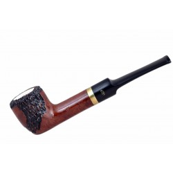 Meerschaum lined briar carved straight pot orange tobacco smoking pipe from Gasparini (Italy)