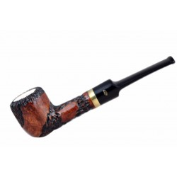 Meerschaum lined orange briar carved straight pot tobacco smoking pipe from Ga..