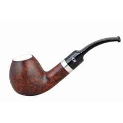 ORANGE Briar bent egg dark brown meerschaum lined tobacco smoking pipe from Gasparini (Italy)