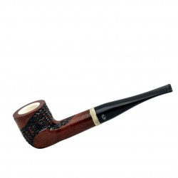 Meerschaum lined orange briar carved straight billiard pipe