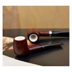 ORANGE billiard straight meerschaum lined pipe