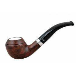 ORANGE Briar bent bulldog dark brown meerschaum lined tobacco smoking pipe from Gasparini (Italy) 04