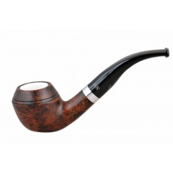 ORANGE Briar bent bulldog dark brown meerschaum lined tobacco smoking pipe from Gasparini (Italy) n06
