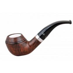 ORANGE Briar bent bulldog dark brown meerschaum lined tobacco smoking pipe fro..