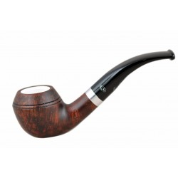 ORANGE Briar bent bulldog dark brown meerschaum lined tobacco smoking pipe from Gasparini (Italy) n10