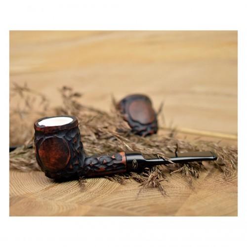 ORANGE RUSTIC meerschaum lined billiard pipe