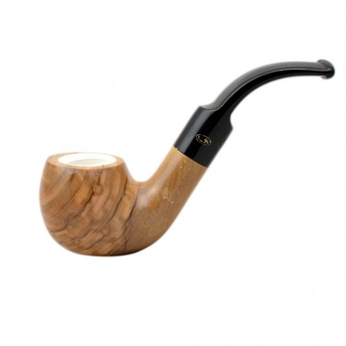 ULIVO olive tree bent meerschaum lined tobacco smoking pipe from Gasparini (Italy)