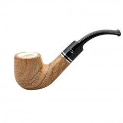 ULIVO olive tree bent billiard meerschaum lined tobacco smoking pipe from Gasparini (Italy)