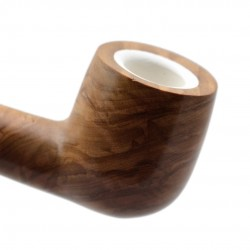 ULIVO olive tree straight billiard meerschaum lined tobacco smoking pipe from Gasparini (Italy)