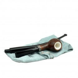 KENT long brown churchwarden pipe with two stems