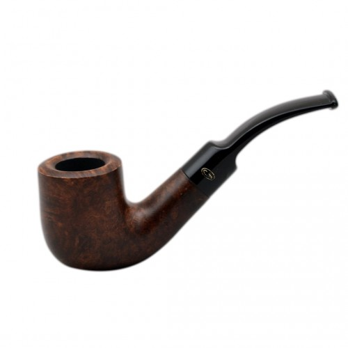 BRISTOL briar bent billiard with saddle stem dark brown tobacco smoking pipe from Gasparini (Italy)