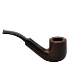 BRISTOL briar bent billiard with saddle stem dark brown tobacco smoking pipe from Gasparini (Italy)