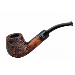 RUSTIC MARRONE Briar bent brandy brown rustic tobacco smoking pipe from Gasparini (Italy)