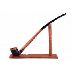 #81 Pear wood extra long orange with rustic bowl churchwarden tobacco smoking pipe with stand from Golden Pipe (Poland)