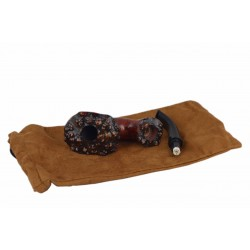 EXTRA BRUYERE exclusive freehand calabash carved orange briar tobacco smoking pipe from Golden Pipe (Poland)