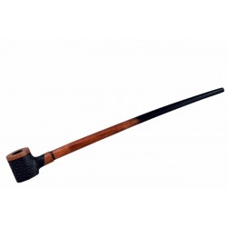 No85 Pear wood extra long orange black with rustic bowl churchwarden tobacco smoking pipe with stand from Golden Pipe (Poland) 02