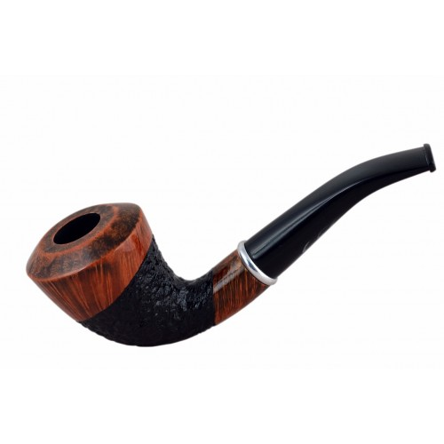 #75 Briar dublin rustic brown and black tobacco smoking pipe from Golden Pipe (Poland)