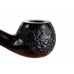 #76 Briar bent apple black rustic tobacco smoking pipe from Golden Pipe (Poland)