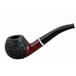#76 Briar bent apple dark red - black rustic tobacco smoking pipe from Golden Pipe (Poland)
