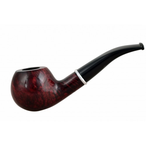 #76 Briar bent apple red smooth tobacco smoking pipe from Golden Pipe (Poland)