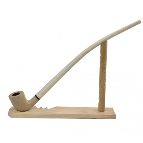 #81 Pear wood extra long beige tobacco smoking pipe with stand from Golden Pipe (Poland)