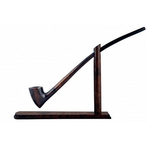 #83 Extra long  brown smooth churchwarden tobacco smoking pipe with stand from Golden Pipe (Poland)