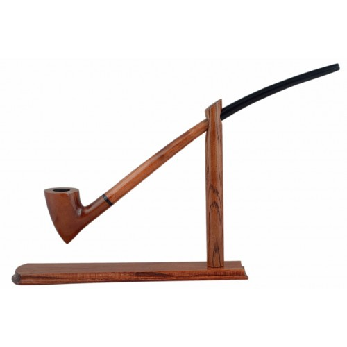 #83 Extra long orange smooth churchwarden tobacco smoking pipe with stand from Golden Pipe (Poland)