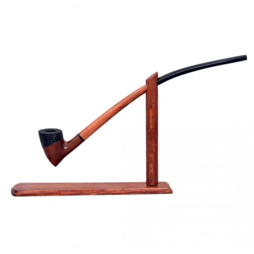 #83 Extra long orange smooth with carved detail churchwarden tobacco smoking pipe with stand from Golden Pipe (Poland)