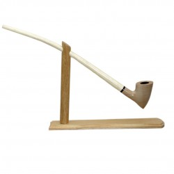 #83 Extra long light smooth churchwarden tobacco smoking pipe with stand from Golden Pipe (Poland)