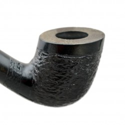 #81 Pear wood extra long black with rustic bowl churchwarden tobacco smoking pipe with stand from Golden Pipe (Poland)