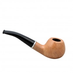 #76 Briar bent apple nude smooth tobacco smoking pipe from Golden Pipe (Poland)