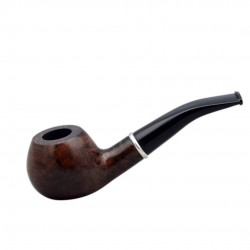 #76 Briar bent apple dark brown smooth tobacco smoking pipe from Golden Pipe (Poland)