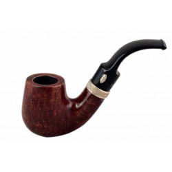 SAILING (Amaranto 6006) briar bent billiard smooth pipe with sterling silver band by Brebbia (Italy)