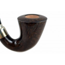 FIRST CALABASH (noce 1997) briar brown smoking pipe with the sterling silver (925) mount and stem ring from Brebbia (Italy)
