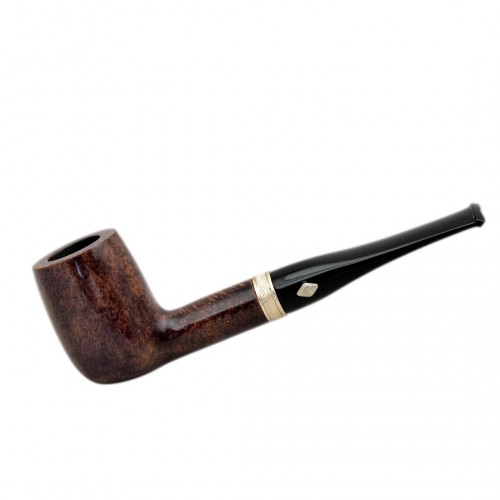 SAILING (Noce 1005) briar straight billiard tobacco pipe with sterling silver band by Brebbia (Italy)