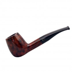 ROMBO (Marezzate) briar 1/8 bent smooth dark red tobacco smoking pipe by Brebbia (Italy)