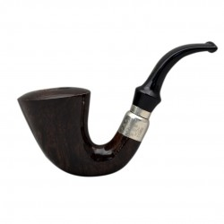 FIRST CALABASH (noce 1997) briar smoking pipe with the sterling silver (925) mount and stem ring from Brebbia (Italy)