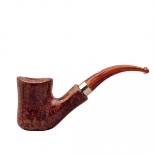 NAIF (Pura noce curva 7069) briar bent hourglass tobacco smoking pipe from Brebbia (Italy)