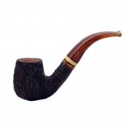 NINJA (rocciata 6002) bent billiard tobacco smoking pipe with turtle color acrylic stem and boxwood band from Brebbia (Italy)
