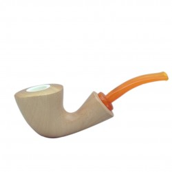MARA (Naturale 1622) lime wood meerschaum lined bent pipe with yellow mouthpiece by Brebbia (Italy)