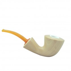 MARA (Naturale 1622) lime wood meerschaum lined bent pipe with yellow mouthpiece by Brebbia (Italy) 05