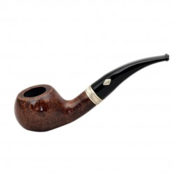 SAILING (Noce 601) briar bent author tobacco pipe with sterling silver band by Brebbia (Italy)