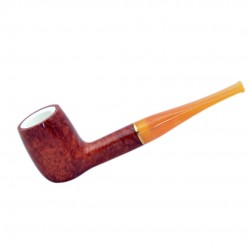 SUN (1001) briar meerschaum lined straight billiard tobacco smoking pipe from Brebbia (Italy)