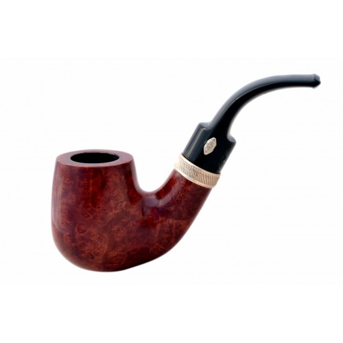 SAILING (Amaranto 6006) briar bent billiard smooth pipe with sterling silver band by Brebbia (Italy) 02