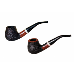 CONSUL no. 82 briar bent rustic black and red billiard pipe by Mr. Brog (Poland)