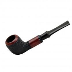 POZEN #102 briar billiard rustic black and red tobacco smoking pipe by Mr. Brog (Poland)
